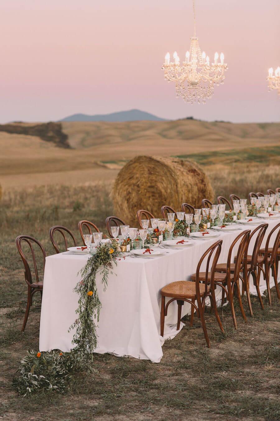 ricevimento di matrimonio nel campo