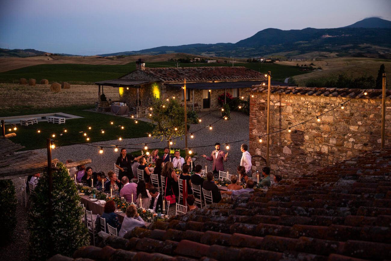 cena di matrimonio in Toscana