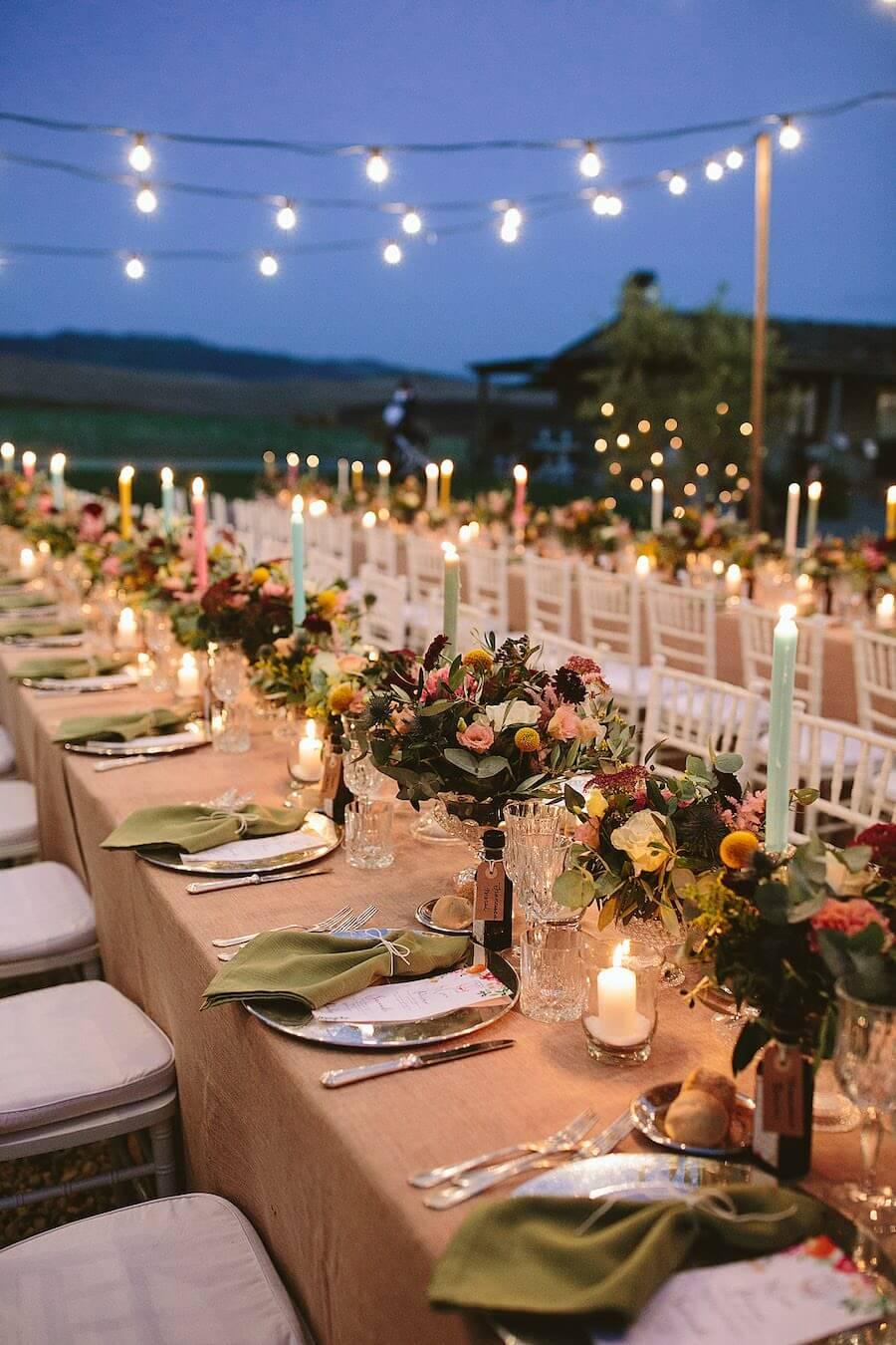 cena di matrimonio all'aperto