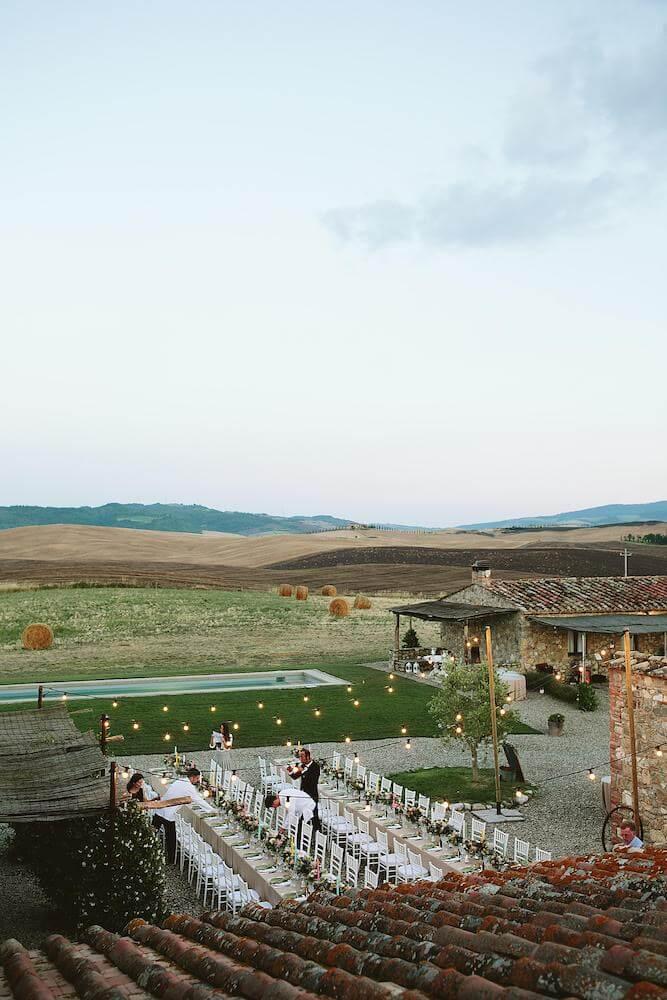 banchetto di matrimonio all'aperto